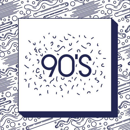 monochrome frame with pattern ninetys style and number 90 vector illustration