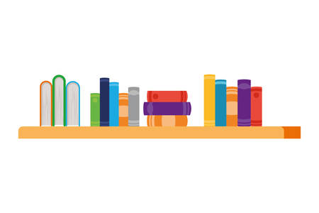 shelving with books in white background vector illustration design Иллюстрация