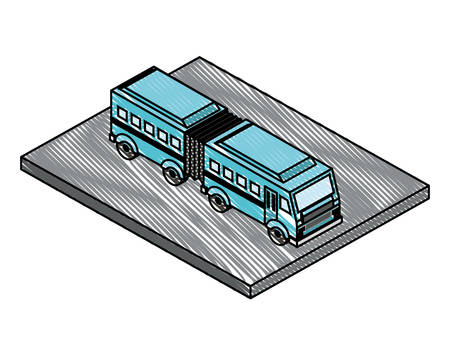 articulated bus transport isometric icon vector illustration design  イラスト・ベクター素材