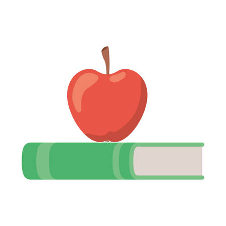 book of school with apple fruit icon vector illustration design