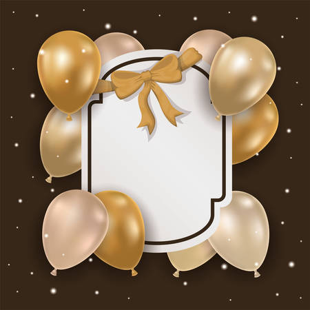 elegant frame with golden bow and balloons helium vector illustration design