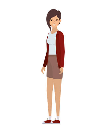 young woman in white background avatar character vector illustration design