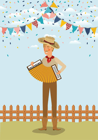 young farmer playing accordion with garlands and fence vector illustration design Ilustração