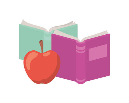 books of school with apple fruit icon vector illustration design