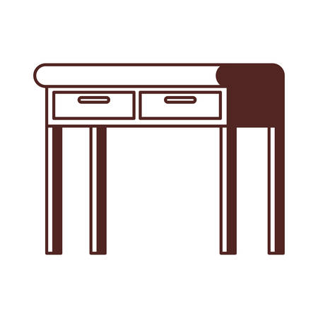 silhouette of office desk in wooden with white background vector illustration design