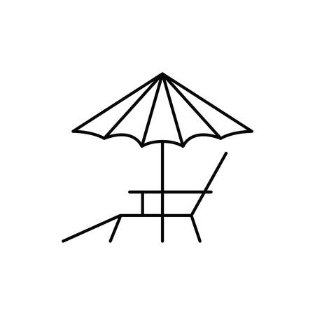 umbrella striped with beach chair in white background vector illustration design 일러스트