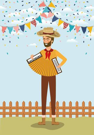 Jeune agriculteur jouant de l'accordéon avec des guirlandes et clôture vector illustration design Vecteurs