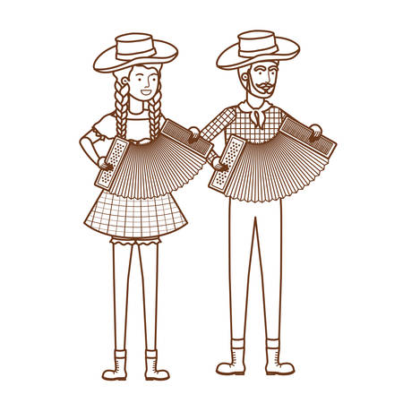 farmers couple with musical instruments vector illustration design  イラスト・ベクター素材