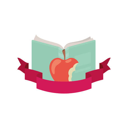 book open with apple fruit and ribbon vector illustration design Stock Illustratie