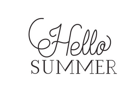 hello summer label isolated icon vector illustration design Çizim