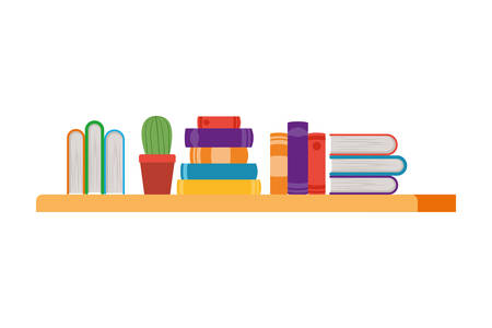 shelving with books in white background vector illustration design Illustration