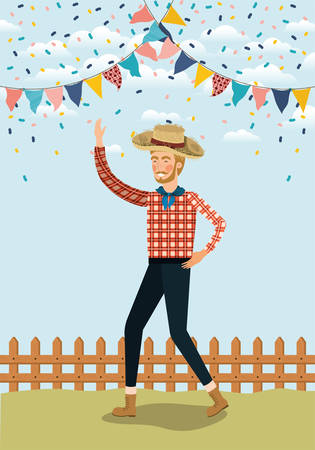 young farmer celebrating with garlands and fence vector illustration design