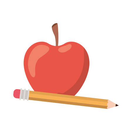 pencil with apple fruit of color red isolated icon vector illustration design