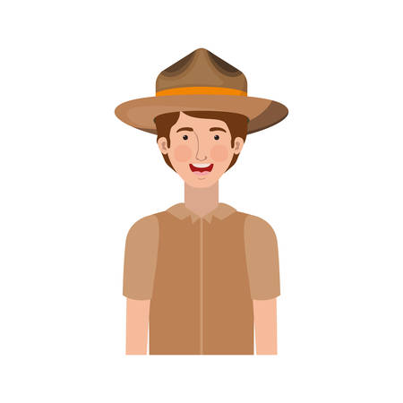 Forest ranger cartoon design, life protector nature fauna and green theme Vector illustration Illustration