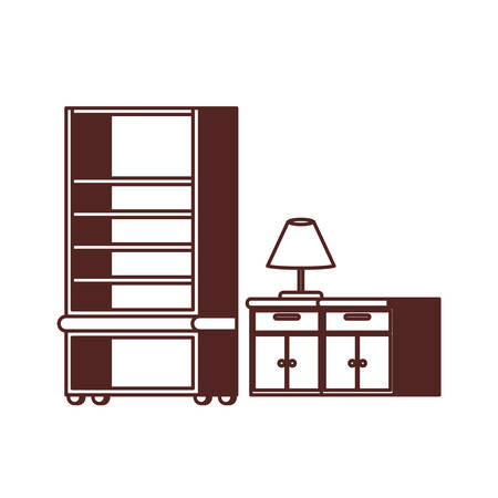 silhouette of bookshelf on white background vector illustration desing Illustration