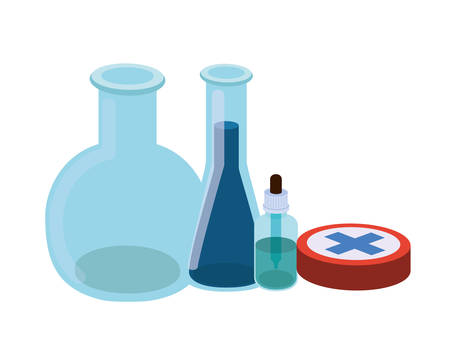 laboratory instruments with medicines in white background vector illustration design Stockfoto - 129905150