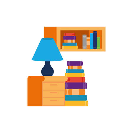 shelving with books and wooden drawer vector illustration desing Illustration