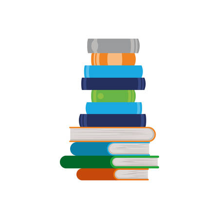stack of books on white background isolated icon vector illustration design