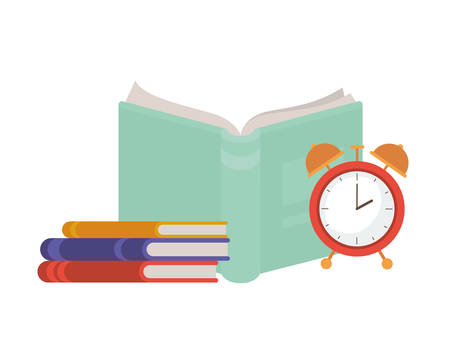 book of school with alarm clock icon vector illustration design
