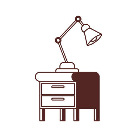 silhouette of wooden drawer with lamp in white background vector illustration design