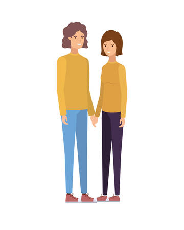 young couple in white background avatar character vector illustration design