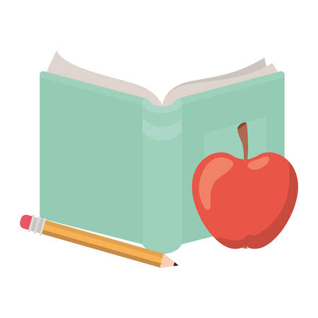 book open with apple fruit and pencil vector illustration design