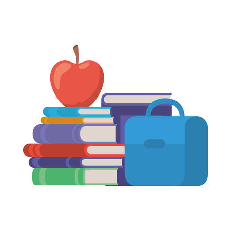 handbag school with notebooks and apple on white background vector illustration design