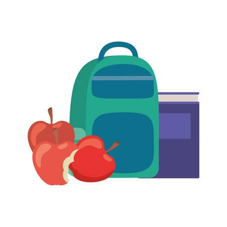handbag school with notebooks on white background vector illustration design