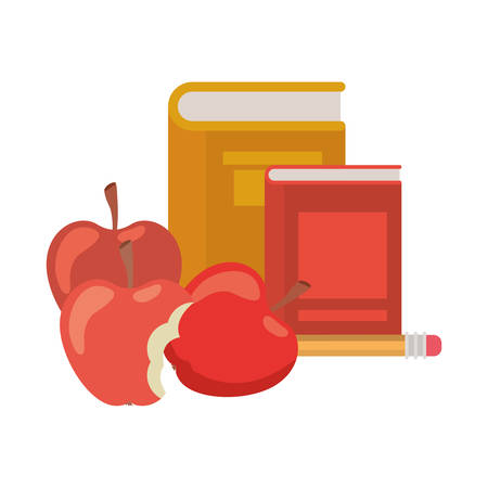 stack of books with apple fruit icon vector illustration design