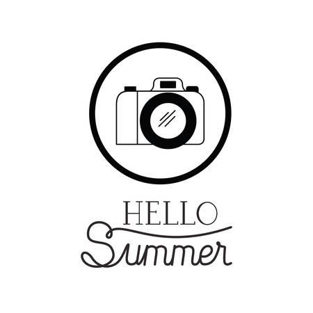 hello summer label with camera white background vector illustration design