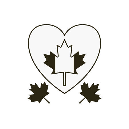 Maple leaf heart and canada design, Culture national country travel and tourism theme Vector illustration