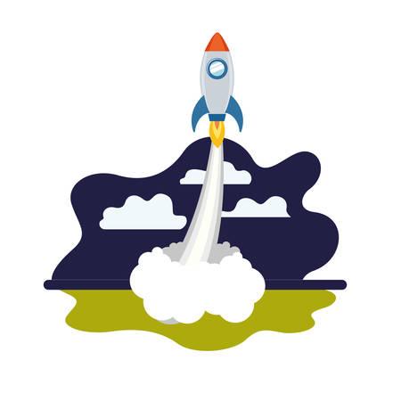 rocket taking off in landscape of background vector illustration design Ilustração