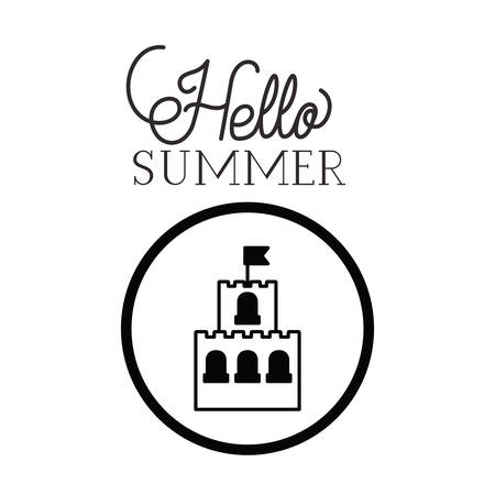 hello summer label with white background vector illustration design Ilustracja