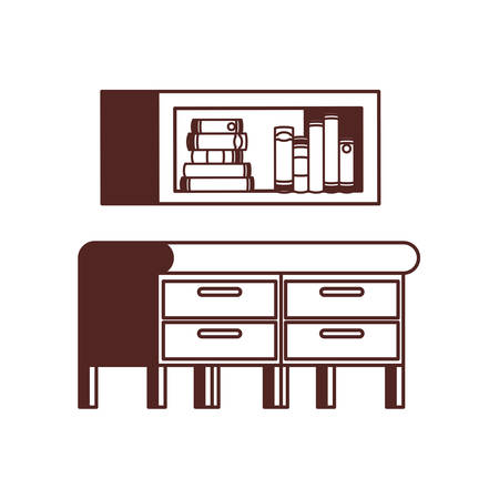 silhouette of desk and shelving with stack of books vector illustration design Иллюстрация