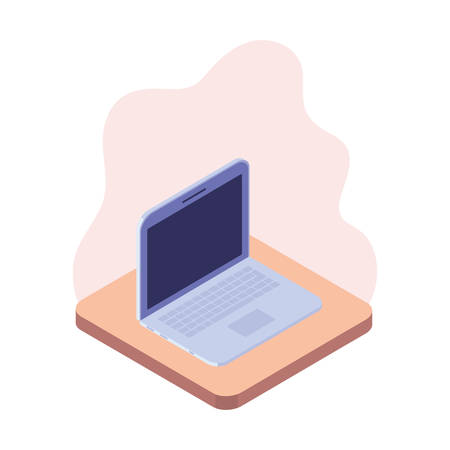 laptop in 3d image on white background vector illustration design Illusztráció