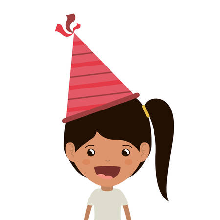girl with party hat in birthday celebration vector illustration design