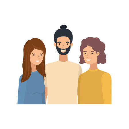 group of people in white background avatar character vector illustration design