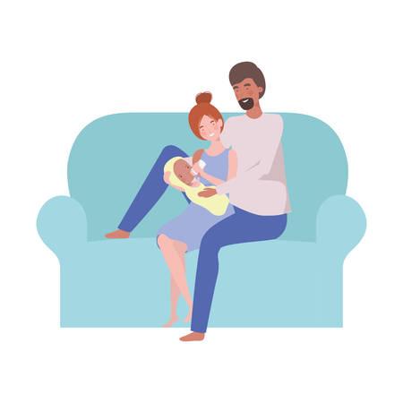 woman and man with newborn baby sitting on sofa vector illustration design Illusztráció