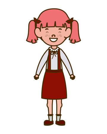 student girl standing smiling on white background vector illustration design