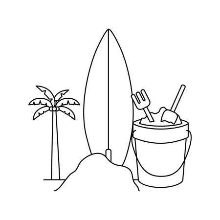 silhouette of palm tree with surfboard in white background vector illustration design