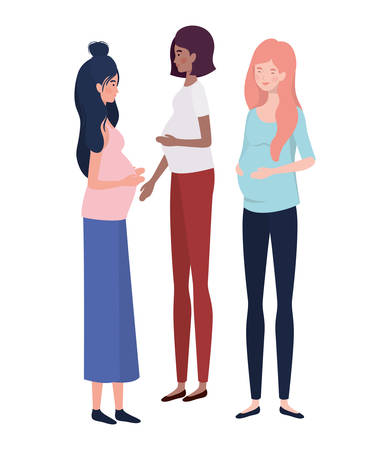beautiful women pregnant standing on white background vector illustration design