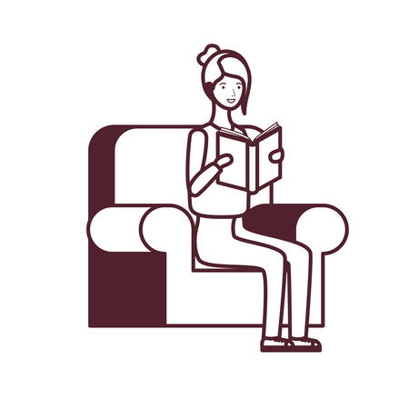 silhouette of woman sitting on chair with book in hands vector illustration design Иллюстрация