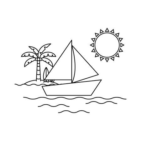silhouette of sailboat on white background vector illustration design Ilustração