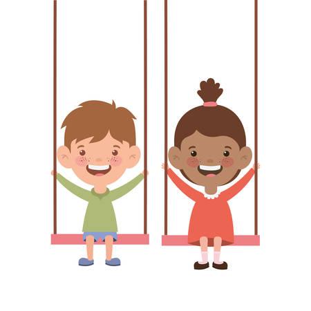 couple baby in swing smiling on white background vector illustration design Иллюстрация