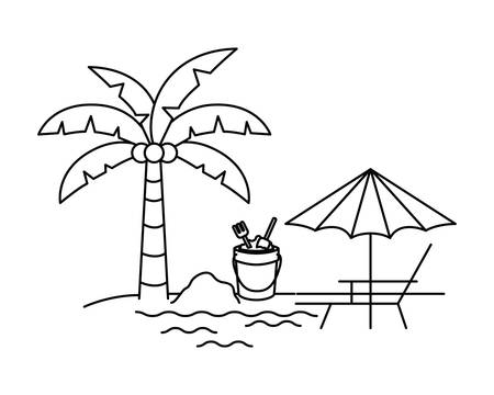 silhouette of palm tree with beach umbrella striped vector illustration design