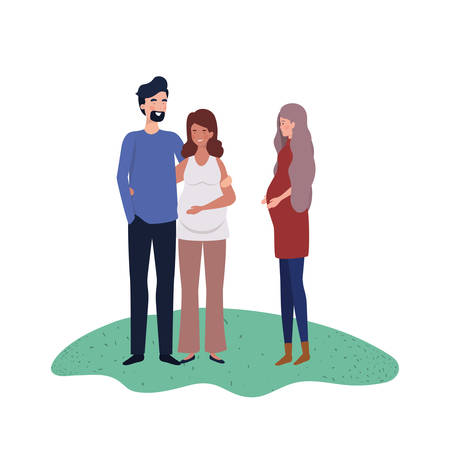 pregnant women with man standing in landscape vector illustration design  イラスト・ベクター素材