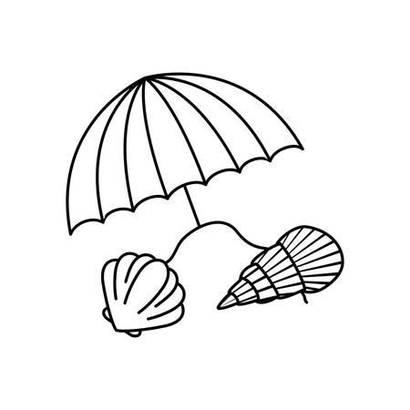 silhouette of beach umbrella for summer striped vector illustration design