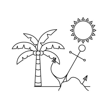 silhouette of palm tree with coconut on island vector illustration design