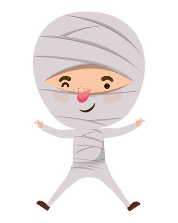 cute little boy with mummy costume vector illustration design