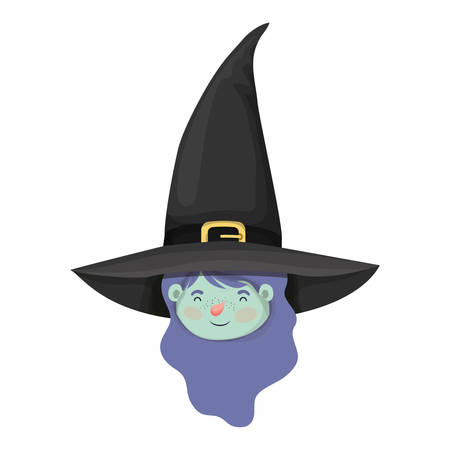 cute little girl head with witch costume vector illustration design 스톡 콘텐츠 - 129932396